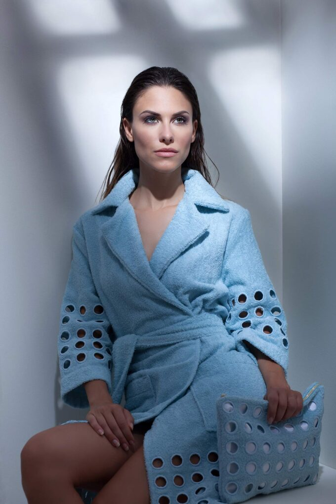 LADIES TRENCH BATHROBE - RING COLLECTION WHITE