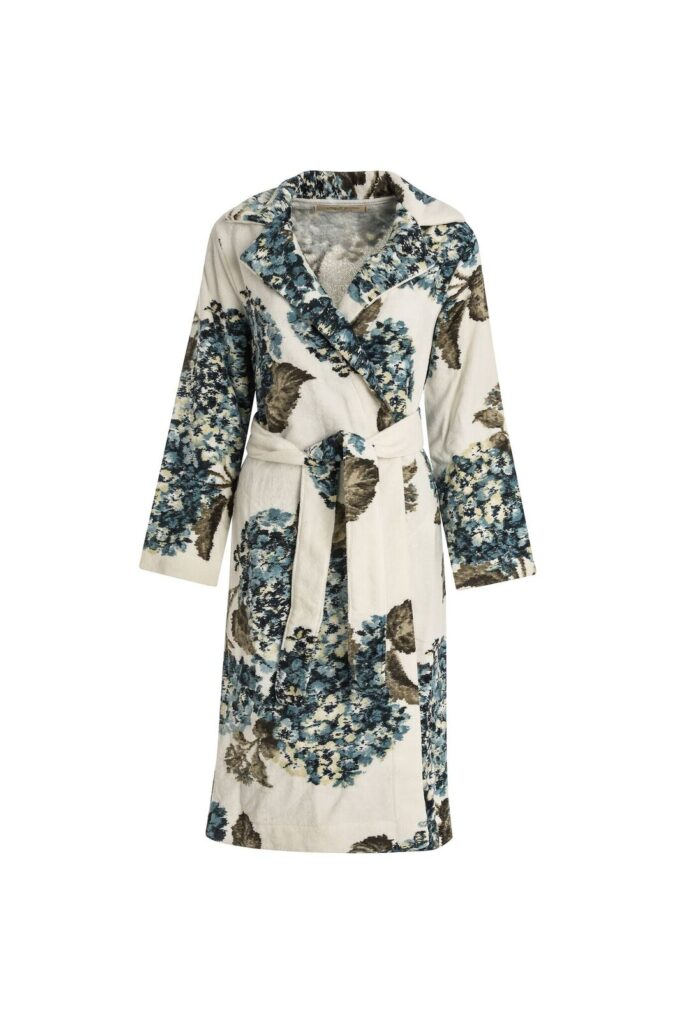 TRENCH BATHROBE - ORTENSIA COLLECTION PRINT VELOUR PACIFIC BLUE