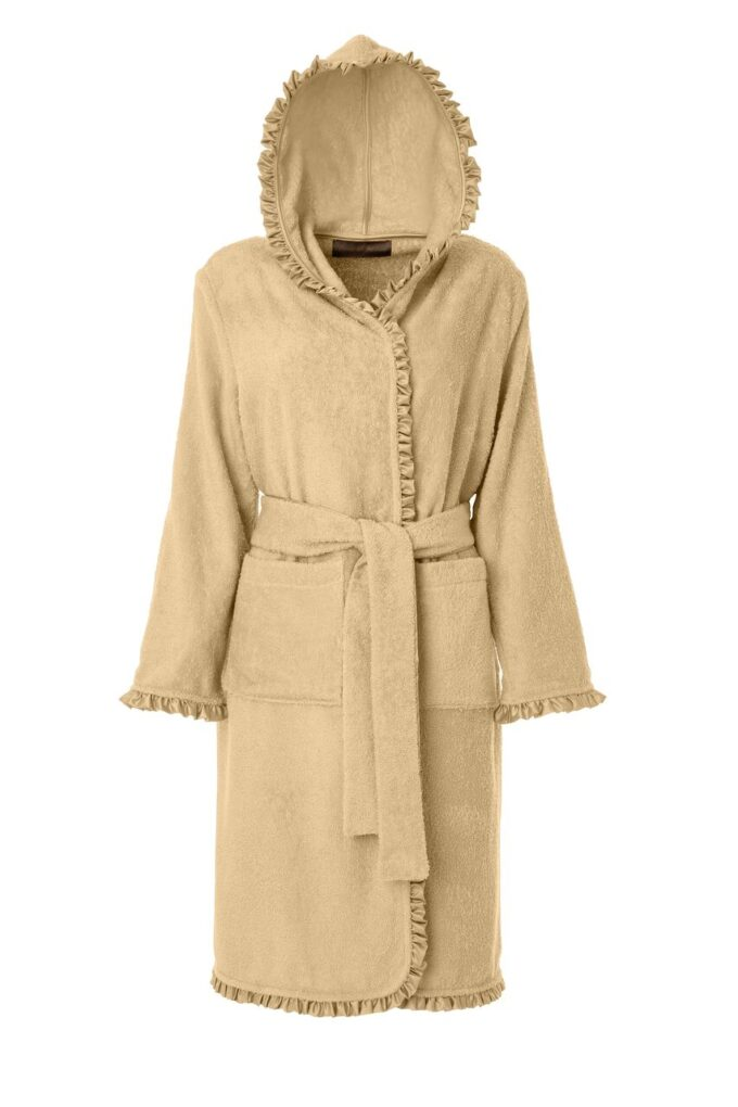LADIES HOODED BATHROBE - SATIN COLLECTION BEIGE