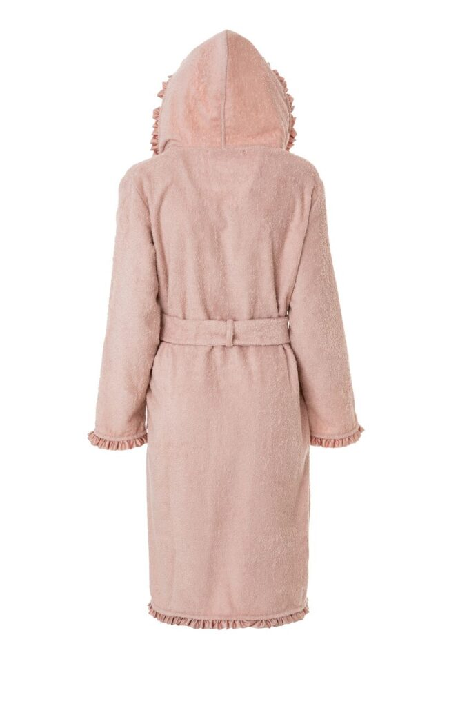 LADIES HOODED BATHROBE - SATIN COLLECTION PINK