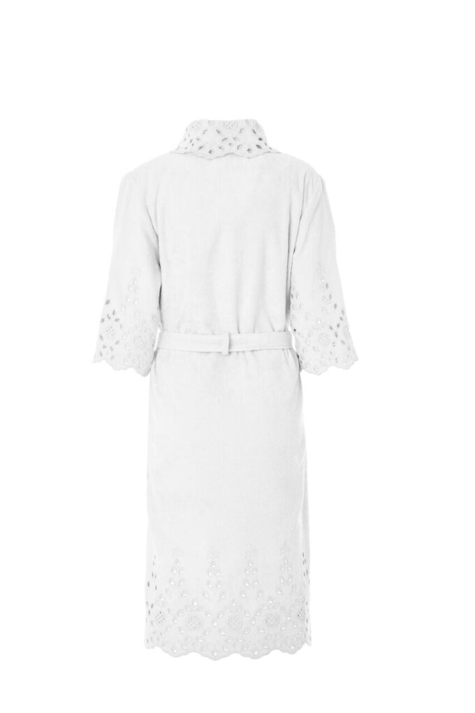 LADIES SHAWL BATHROBE - SANGALLO COLLECTION WHITE